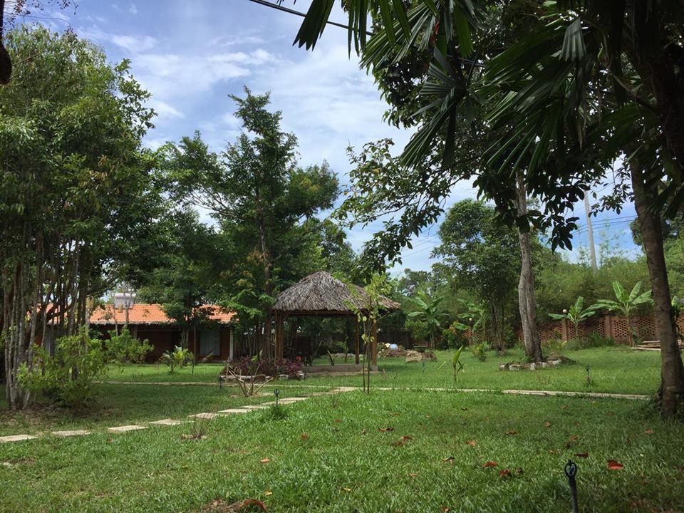 Cây xanh bao phủ tạo nên một không gian yên bình, mát mẻ và trong lành tại chỗ nghỉ