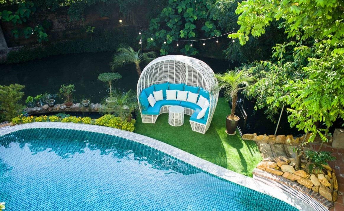 View bể bơi xịn xò của Trà Hoa Viên villa tại sóc Sơn, Hà Nội